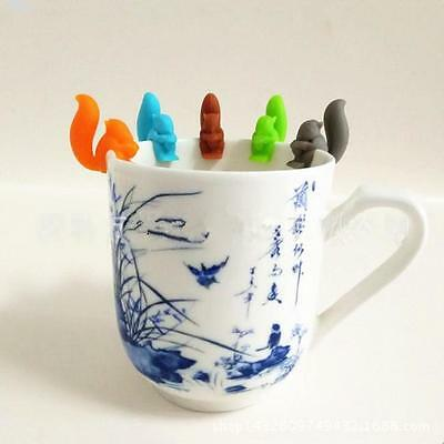 5 Tea Bag Holder Candy Color Squirrels Silicone Clip Hanging Gadget Kitchen Cup