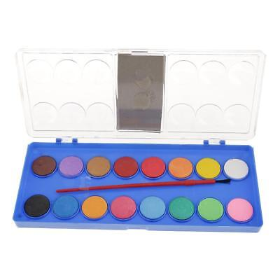16 Colors Solid Watercolor Cake Brush Paint Pigment Set with Transparent Box