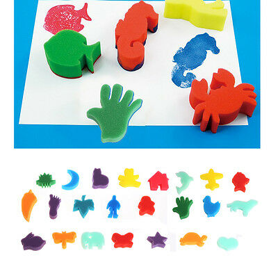 24Pcs Sponge Stamp Children Kids Art Craft Painting Set Education School DIY Toy