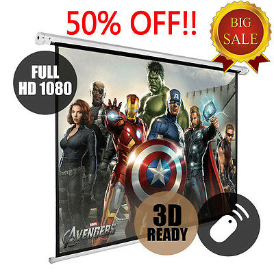"""72"""" Electric Motorised Projector Screen 16:9 4:3 Projection Home Cinema 3D HD UK"""