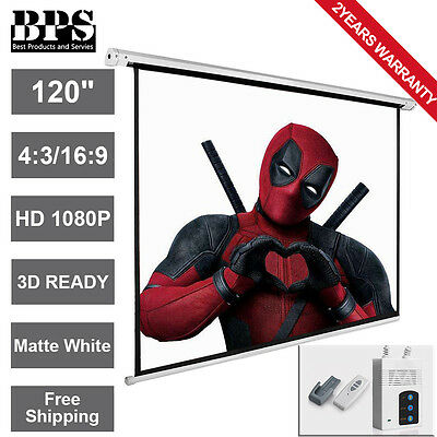 """120"""" Electric Motorised Projector Screen 16:9 4:3 Projection 3D HD Home Cinema"""