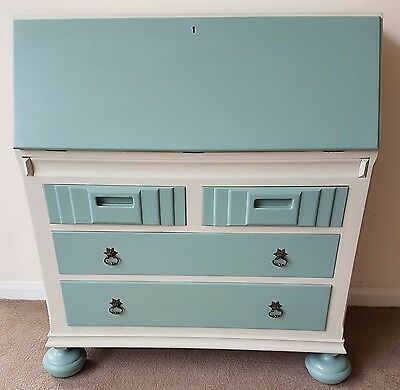 lovely wooden writing bureau painted in farrow and ball