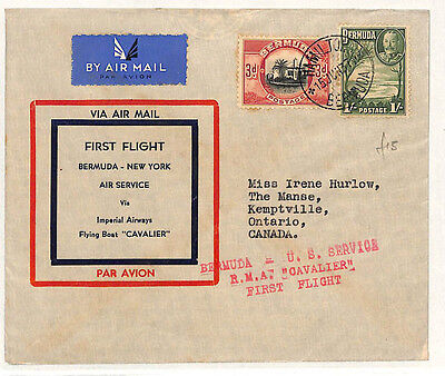 W49 1937 BERMUDA First Flight Cover FLYING BOAT Service Canada {samwells-covers}