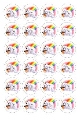 24 x Unicorn 1 Edible Image Cupcake Toppers Pre-Cut