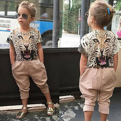 Child Kids Toddler Baby Girl Leopard T-shirt Tops+Pants Outfits Clothes 2PCS Set