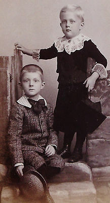 Antique Cdv Photo Of 2 Beautiful Boys Brothers One Wearing Dress Germantown Pa