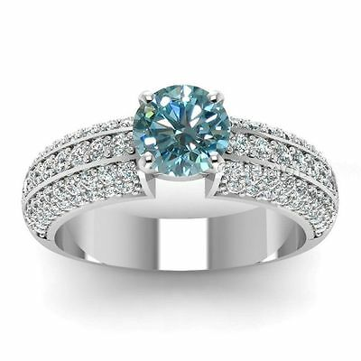 Lovely 1.24 ct Blue Moissanite Engagement wedding Ring 925 Sterling Silver GJ