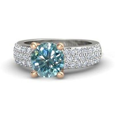Rare 1.41 ct Blue Moissanite Engagement wedding Ring 925 Sterling Silver GJ