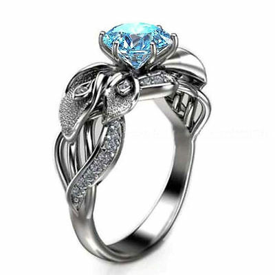 Beautiful 1.14 Blue Moissanite Engagement wedding Ring 925 Sterling Silver GJ