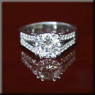 Rare 2.20 ct I-J Moissanite Engagement wedding Ring 925 Sterling Silver GJ