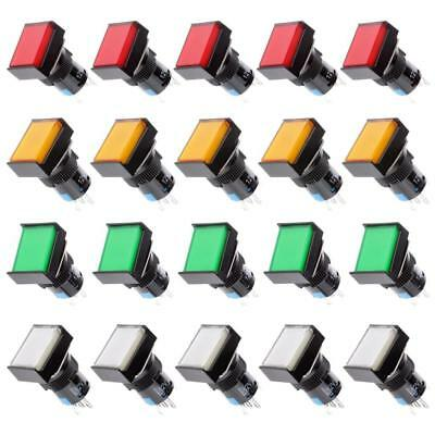 20Pack Electrical Switch Panel Pushbutton Square Self-locking 3A-250V/AC 30V