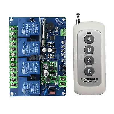DC 12V 4 CH Wireless Remote Control Switch Relay Transmitter and Receiver