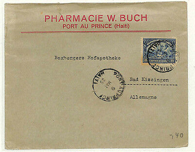 QQ57 1925 HAITI PHARMACY Commercial Transatlantic Germany {samwells-covers}
