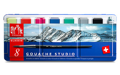 Caran d'ache Gouache Paint Set of 8 Colours - Gouache Studio Set in Metal Tin