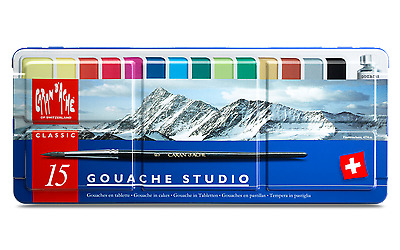 Caran d'ache Gouache Paint Set of 15 Colours - Gouache Studio Set in Metal Tin