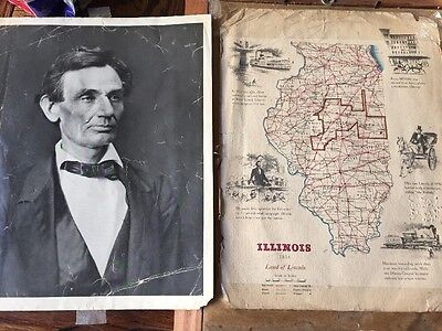 Vintage Picture President Lincoln Map of Illinois illustrating Railroads Rare!!!