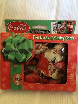 Coca Cola 2 Decks Of Playing Cards In  3D Tin New Sealed
