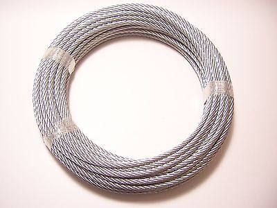 "Galvanized Wire Rope Cable  3/16"", 7x19, 25 ft"