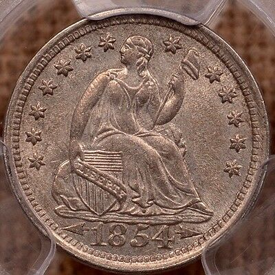1854 Arr Liberty Seated Half dime, PCGS MS63, EJ collection   DavidKahnRareCoins