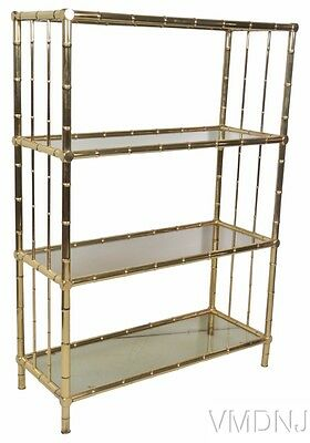 VMD1057 Romeo Rega Style Brass Faux Bamboo Etagere