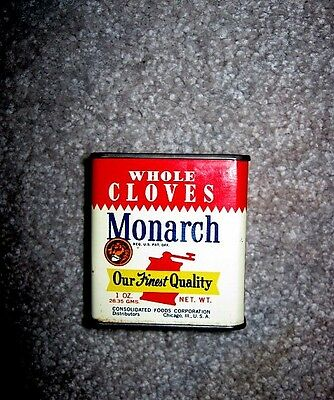 Old Monarch Spice Tin-Whole Cloves-Metal Closure-1 oz.