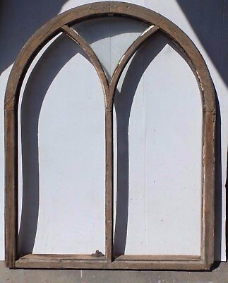 Large Antique Half Round Arch Top Window Gothic Shabby Cottage Chic Vtg 404-17R