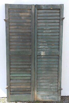 Pair Antique Window Wood Louvered Shutter Shabby Old Chic Vtg 54x15 405-17R