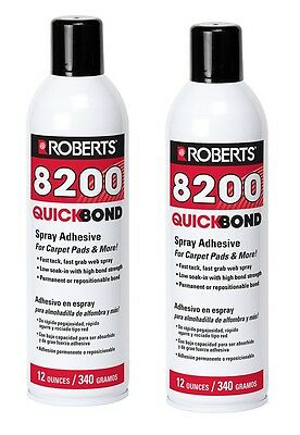 (2) Roberts 8200 - Aerosol Spray Adhesive Glue - Foam Fabric Wood Plastic -12 oz