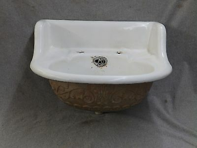 Antique Ornate Victorian Cast Iron White Porcelain Bathroom Sink Old Vtg 125-17E