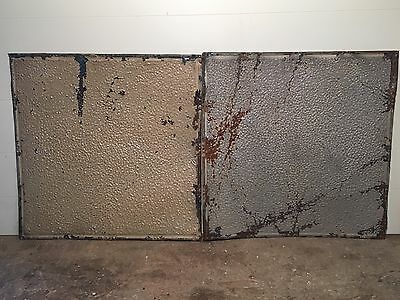 "2 - 24"" x 24"" Antique Ceiling Tin Tile Vintage Reclaimed Salvage Re Purpose Art"