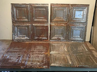 "Lot of 4 pc - 24"" x 24"" Antique Ceiling Tin Tile Vintage Reclaimed Salvage Art"