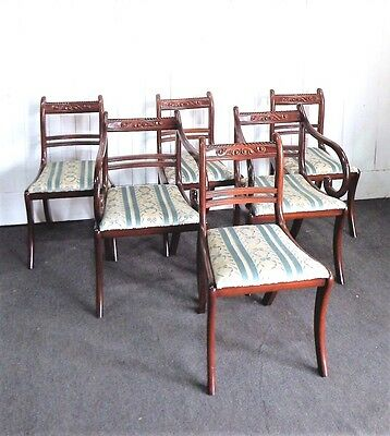 Antique style Regency set of 6 good quality mahogany dining chairs