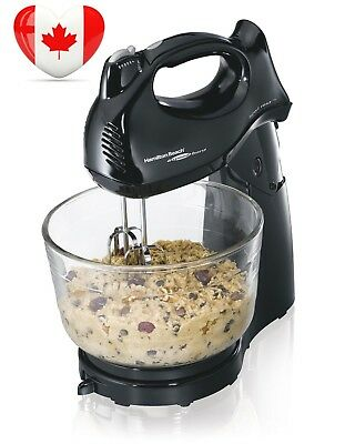 Hamilton Beach 64698 Hand/Stand Mixer with Glass Bowl, Black