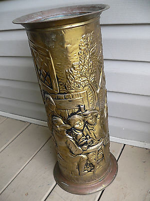 Brass Umbrella Cane Stand Made in England Vintage