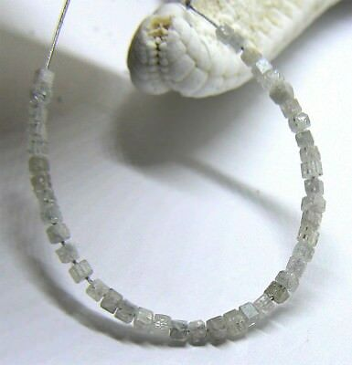"""42 RARE GENUINE FACETED NATURAL DIAMOND SQUARE BEADS 2.6"""" 2.2cts JUST AMAZING"""