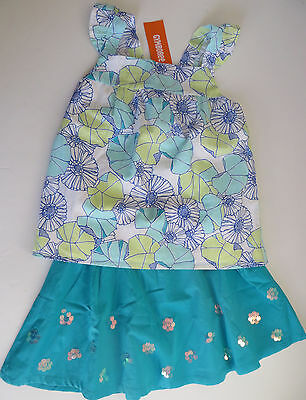 GYMBOREE Outfit Tide Pool Sz 7 Floral Tank Top & Skirt NWT Kid Girl Cotton Lined