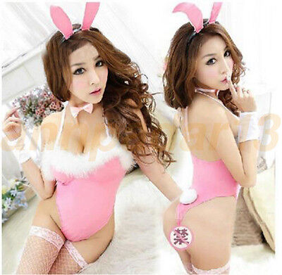 Girl Sexy Black Pink Rabbit Bunny Fashion Party Cosplay Costume Fancy Dress