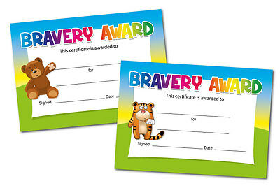 'Bravery' certificates - Teddy or Tiger design - 16 x A6 - hospital, doctors
