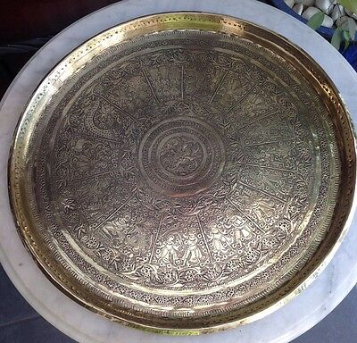 Large 49Cm Diam Antique Ottoman Persian Qajar Mamluk Style Brass Tray Charger