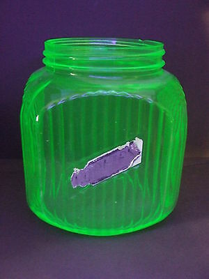 Hocking Green Uranium Depression Glass Square Ribbed Cookie Canister (No Lid)