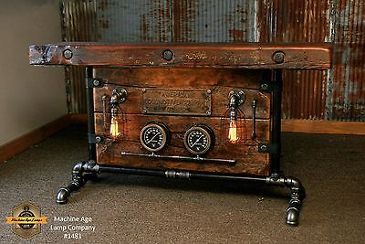 Steampunk Light Industrial Machine Age Steam Gauge Table Sofa Console Railroad