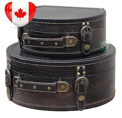 Vintiquewise Black Leather Round Suitcase/Chest, Set of 2