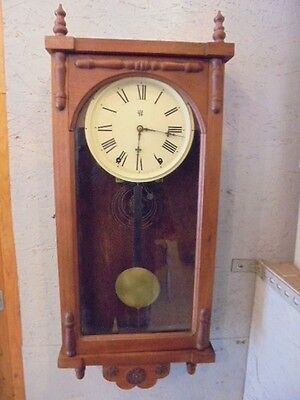 Antique Waterbury Wood Wall Clock Non Working Parts