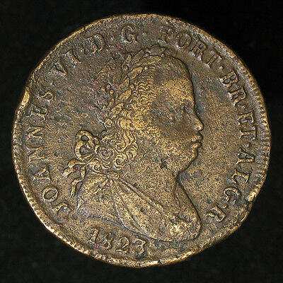 1823 Portugal 40 Reis large, thick copper coin