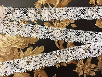 Antique French Lace White 15 mm wide x  4 metres 100% Nylon ~  Stunning