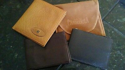 Lot of 3 Men's Genuine Leather Wallets: Caracciola, Marshall's and Hickock