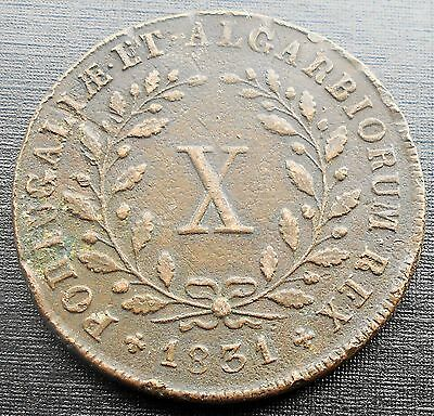 1831 Portugal 10 X Reis KM#390 Miguel I Crowned Arms Type Nice Grade Circ # 724