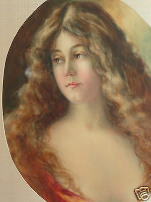 ANTIQUE 19th CENTURY ATTRIBUTED TO ANGELO ASTI WATERCOLOR PAINTING LADY PORTRAIT