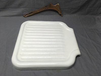 Antique Cast Iron White Porcelain Sink Extension Drainboard Vtg Standard 222-17E