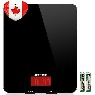 Accuweight Digital Kitchen Food Scale , Tempered Glass Platform Electronic...